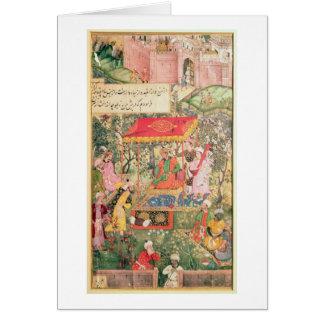 The Mogul Emperor Babur receives the envoys Uzbeg Greeting Card