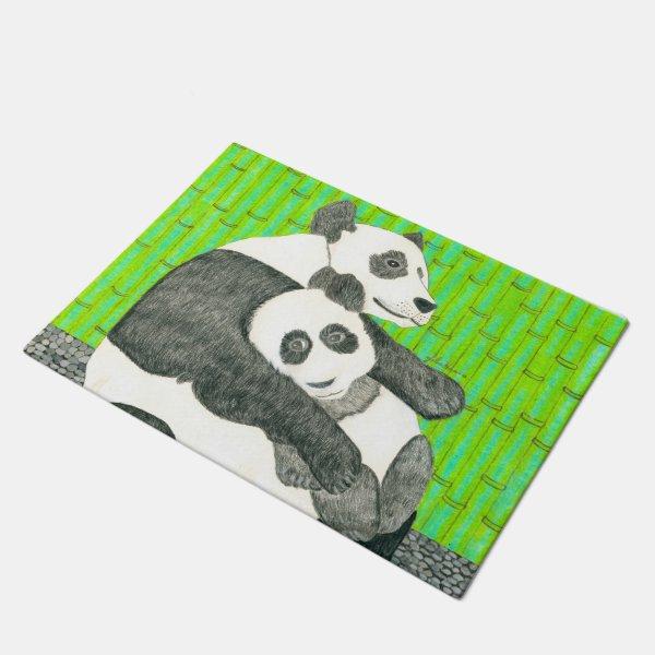 The Mom And Baby Panda Bear By Julia Hanna Doormat