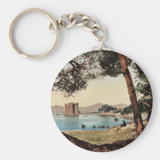 The monastery of St. Honorat, Cannes, Riviera vint Basic Round Button Keychain