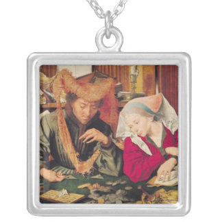 The Money Changer and his Wife, 1539 Silver Plated Necklace