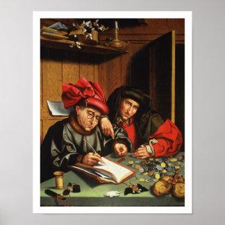 The Money Lenders (oil on oak panel) Poster