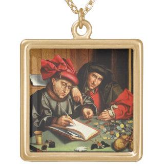 The Money Lenders (oil on oak panel) Square Pendant Necklace