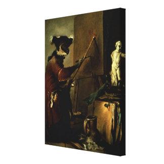 The Monkey Painter, 1740 (oil on canvas) Canvas Print