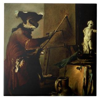 The Monkey Painter, 1740 (oil on canvas) Ceramic Tile