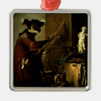 The Monkey Painter, 1740 (oil on canvas) Metal Ornament