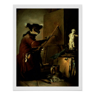 The Monkey Painter, 1740 (oil on canvas) Poster