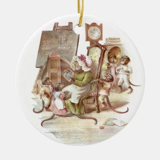 The Monkey School Vintage Illustration Ceramic Ornament