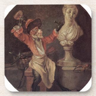 The Monkey Sculptor by Antoine Watteau Coaster