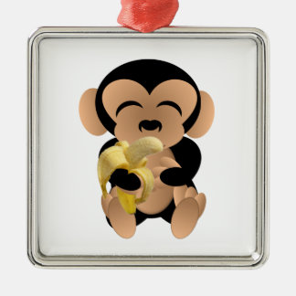 The monkey with a banana metal ornament