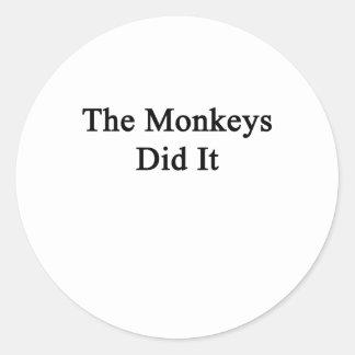 The Monkeys Did It Classic Round Sticker
