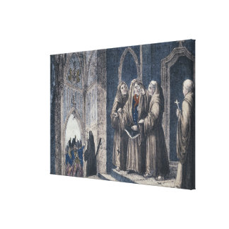 The Monks covering King with drape Camenz Convent Canvas Print