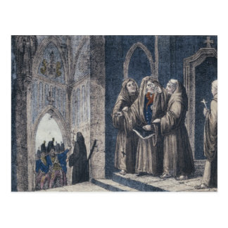 The Monks covering King with drape Camenz Convent Post Card