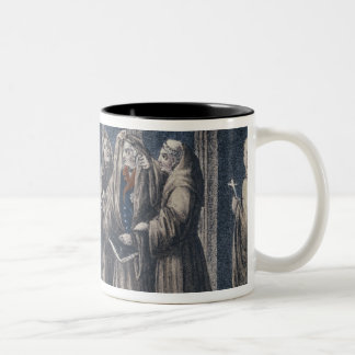The Monks covering King with drape Camenz Convent Two-Tone Coffee Mug