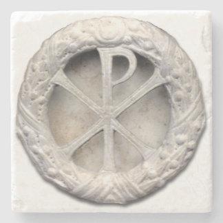 The Monogram of Christ - Chi-Rho Stone Coaster