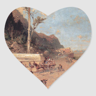 The Monreale Road, Palermo by Franz Richard Heart Sticker