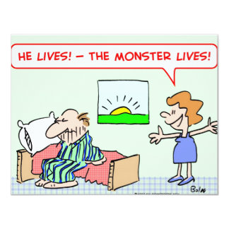 """the monster lives 4.25"""" x 5.5"""" invitation card"""