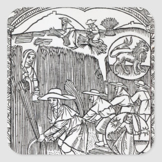 The Month of August, from a shepherd's calendar Square Sticker