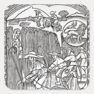 The Month of August, from a shepherd's calendar Sticker