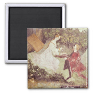The Month of July, detail of a couple, c.1400 2 Inch Square Magnet