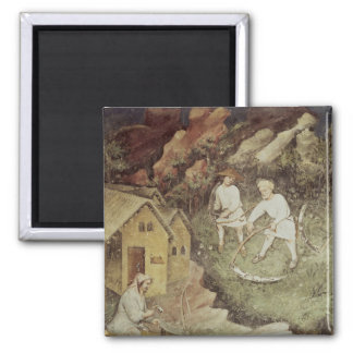 The Month of July, detail of reaping, c.1400 2 Inch Square Magnet