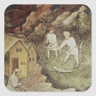 The Month of July, detail of reaping, c.1400 Square Sticker