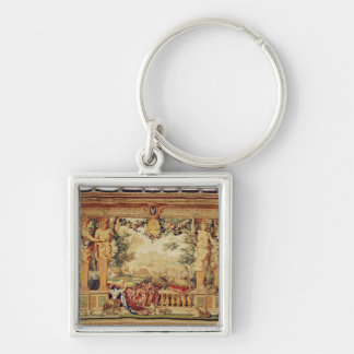 The Month of September/ Chateau of Chambord Silver-Colored Square Keychain