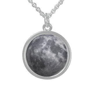 The Moon - 3D Effect Sterling Silver Necklace
