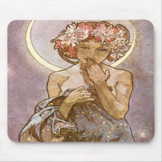 The Moon ~ Alphones Mucha Mousepad