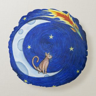 The Moon Cat pillow Round Pillow