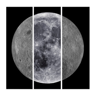 The Moon (Center) - Moon's Farside (R & L) Triptych