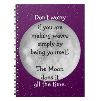 The moon does it all the time (black text) notebook
