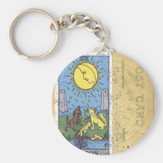 The Moon Dog Tarot Card Vintage Postcard Keychain