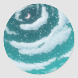 The Moon in the Cyan Sky Classic Round Sticker