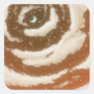 The Moon in the Orange Sky Square Sticker