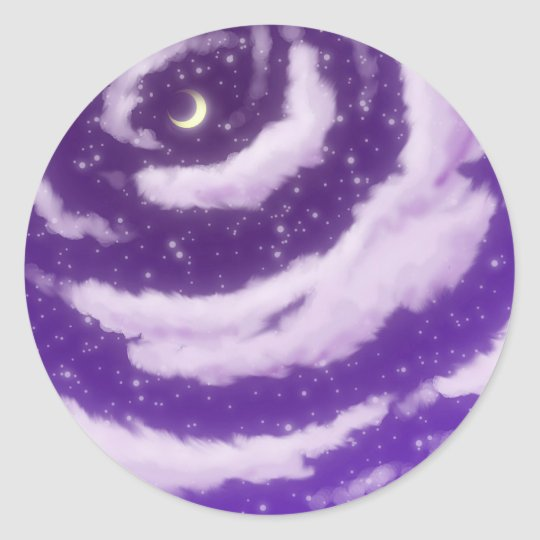 The Moon in the Purple Sky Classic Round Sticker