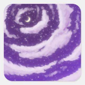 The Moon in the Purple Sky Square Sticker