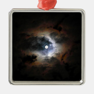 The moon on dark night metal ornament
