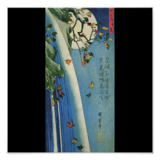 The Moon over a Waterfall circa 1800's. Japan. Poster