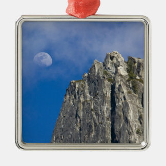 The moon rises and shines through the clouds metal ornament