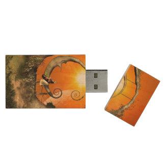 The moon rock wood USB 2.0 flash drive