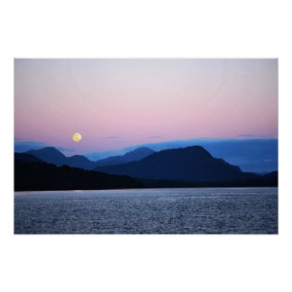 The Moon Sets on Fire Lake 36 x 24 Poster
