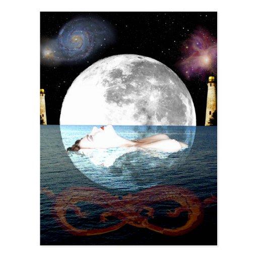 The Moon Tarot Card Art Postcard