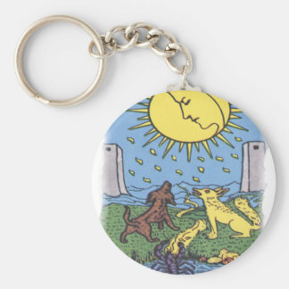 The Moon Tarot Card Howling Dogs Fortune Teller Keychain