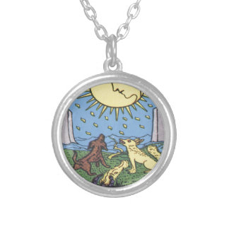 The Moon Tarot Card Howling Dogs Fortune Teller Silver Plated Necklace
