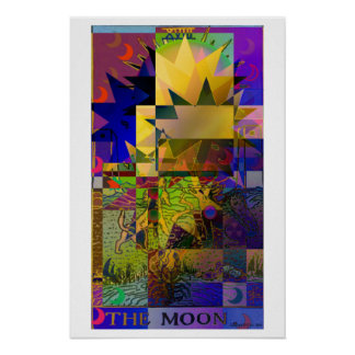 The Moon Tarot Card Psychedelic Poster