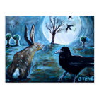 The moon, the hare and the crow postcard