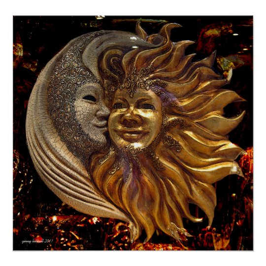 The Moon The Sun The Kiss Poster Zazzle Com