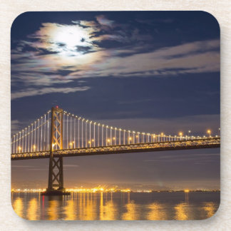 The moonrise tonight over the Bay Bridge Drink Coaster