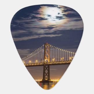 The moonrise tonight over the Bay Bridge Guitar Pick