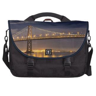 The moonrise tonight over the Bay Bridge Laptop Messenger Bag
